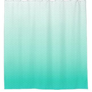 ターコイズの緑のグラデーションな水彩画の六角形の格子 シャワーカーテン