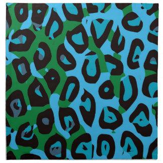 ターコイズの緑のチータの抽象芸術 ナプキンクロス