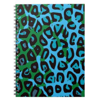 ターコイズの緑のチータの抽象芸術 ノートブック