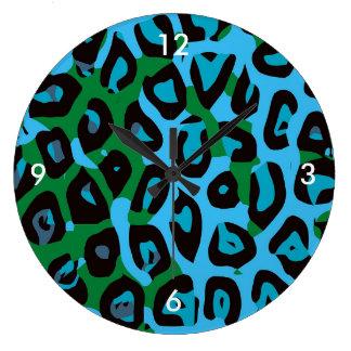 ターコイズの緑のチータの抽象芸術 ラージ壁時計