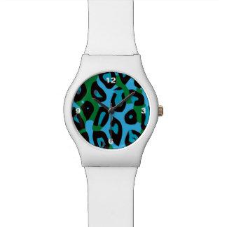 ターコイズの緑のチータの抽象芸術 腕時計