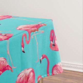 ターコイズの背景のピンクのフラミンゴの鳥 テーブルクロス