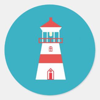 ターコイズの背景の平らな灯台 ラウンドシール