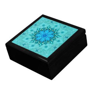 ターコイズの自然の曼荼羅のセラミックタイル箱 ギフトボックス