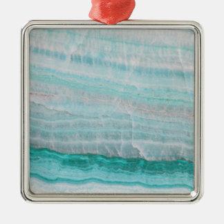 ターコイズの花こう岩の石によって層にされる波のプリント メタルオーナメント