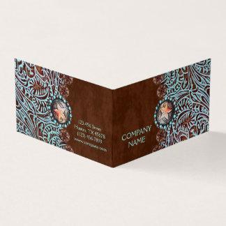 ターコイズの茶色の西欧諸国の用具を使われた革 カード