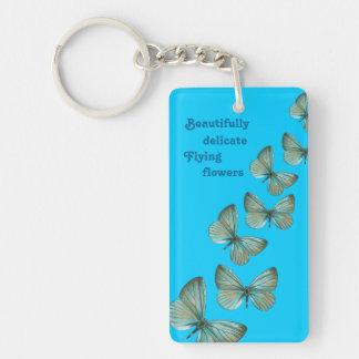 ターコイズの蝶keychain キーホルダー