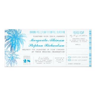 ターコイズの行先の結婚式のチケット カード