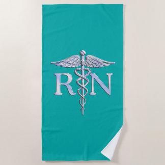 ターコイズの装飾の公認看護師RNのケリュケイオン ビーチタオル