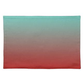 ターコイズの赤いグラデーション ランチョンマット