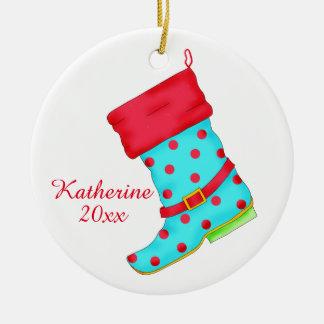 ターコイズの赤いブーツの芸術の靴の恋人のクリスマスの名前 セラミックオーナメント