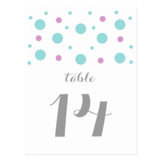 ターコイズの赤紫の紙吹雪のテーブル数郵便はがき ポストカード