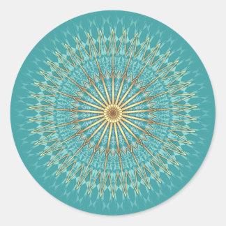 ターコイズの金ゴールドの曼荼羅パターン ラウンドシール
