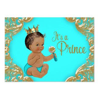 ターコイズの金ゴールドの民族の王子ベビーシャワー カード