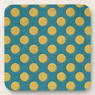 ターコイズの革プリントの黄色い水玉模様 コースター