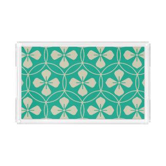 ターコイズの魅力的なダイヤモンドの幾何学的な花パターン アクリルトレー