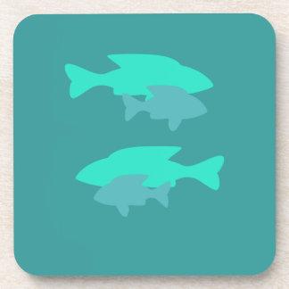 ターコイズの魚のコルクのコースター コースター