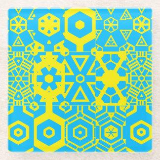 ターコイズの黄色い幾何学的設計4Frankie ガラスコースター