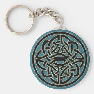 ターコイズの黒い金ゴールドの金属のケルト結び目模様Keychain キーホルダー