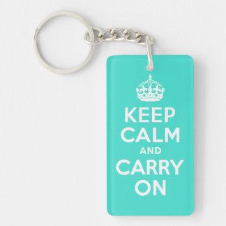 ターコイズのKeep Calm and Carry Onのキーホルダー キーホルダー
