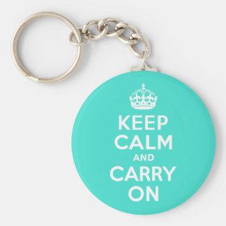 ターコイズのKeep Calm and Carry On キーホルダー
