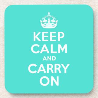 ターコイズのKeep Calm and Carry On コースター