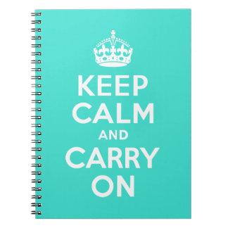 ターコイズのKeep Calm and Carry On ノートブック