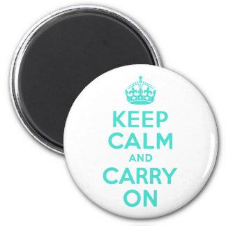ターコイズのKeep Calm and Carry On マグネット