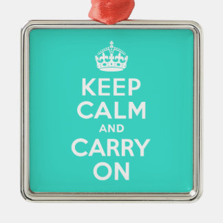 ターコイズのKeep Calm and Carry On メタルオーナメント