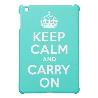 ターコイズのKeep Calm and Carry On iPad Mini Case