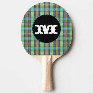 ターコイズのOrgangeの緑の格子縞 卓球ラケット