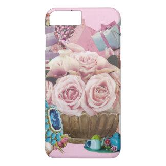 ターコイズを持つピンクのキャベツバラ iPhone 8 PLUS/7 PLUSケース