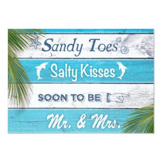 ターコイズサンディは塩辛いキスの婚約パーティをつま先で触ます 12.7 X 17.8 インビテーションカード