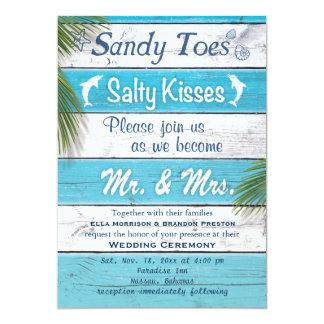 ターコイズサンディは招待を結婚している塩辛いキスをつま先で触ます 12.7 X 17.8 インビテーションカード