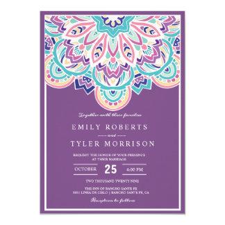 ターコイズ及び紫色のモダンでシックな花の結婚式 カード