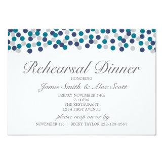 ターコイズ海軍灰色の水玉模様のリハーサルの夕食 カード