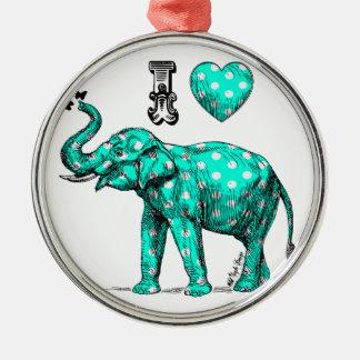 ターコイズ象。 水玉模様象。 かわいい メタルオーナメント
