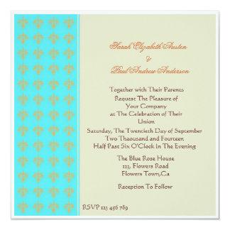 ターコイズ、オレンジおよびInvitatを結婚する草原のダマスク織 カード