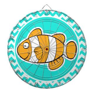 ターコイズ、水色シェブロン; ピエロの魚 ダーツボード