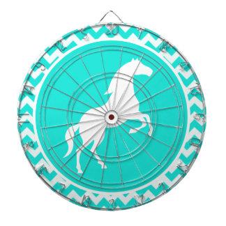 ターコイズ、水色シェブロン; 乗馬 ダーツボード