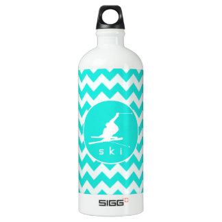 ターコイズ、水色シェブロン; 雪のスキー ウォーターボトル