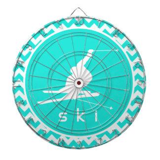 ターコイズ、水色シェブロン; 雪のスキー ダーツボード