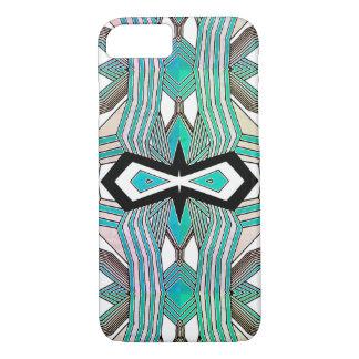 ターコイズ、白黒幾何学的な線画 iPhone 8/7ケース