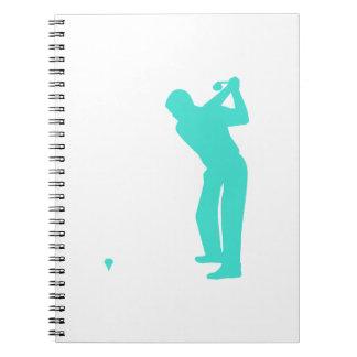 ターコイズ; 青緑のゴルフ ノートブック