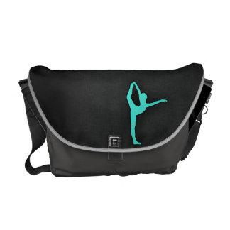 ターコイズ; 青緑のバレエダンサー メッセンジャーバッグ
