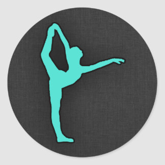 ターコイズ; 青緑のバレエダンサー ラウンドシール
