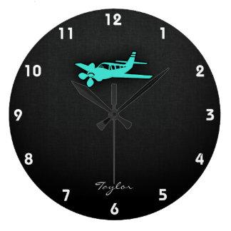 ターコイズ; 青緑の小さい飛行機 ラージ壁時計
