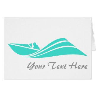 ターコイズ; 青緑の速度のボート カード