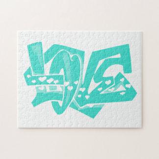 ターコイズ; 青緑愛落書き ジグソーパズル