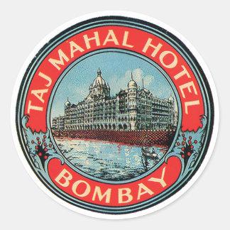 タージ・マハルのホテルのボンベイの荷物のラベル ラウンドシール